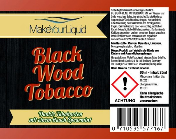 Make Your Liquid - Black Wood Tobacco Longfill